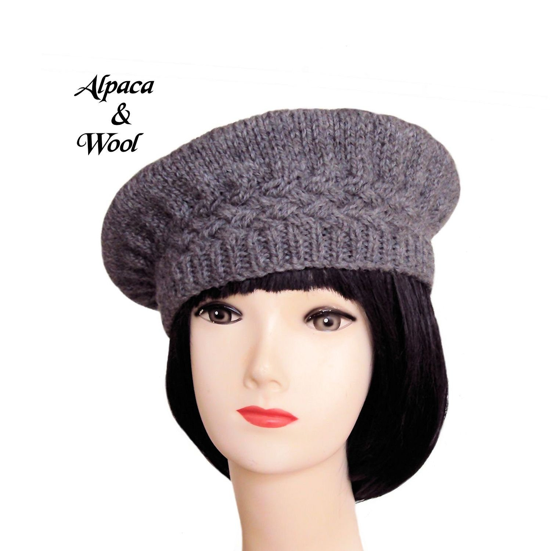 023db646fed88 Grey Beret Hat Grey Wool Beret Alpaca Hat Edwardian Style