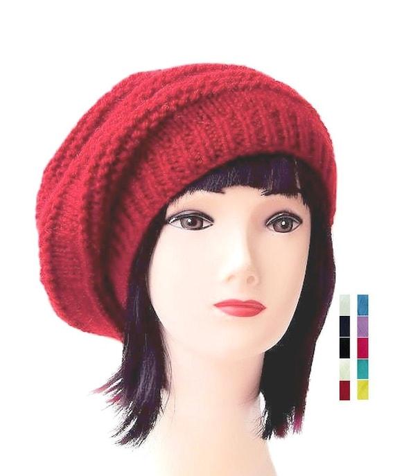 Tuque rouge Womens chapeau béret rouge laine bonnets pour femmes Slouchy Beret  chapeau 78df149d950