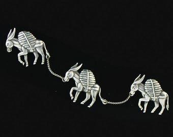 Los Castillo Taxco Three Donkeys Brooch Pin Vintage Mexican Silver