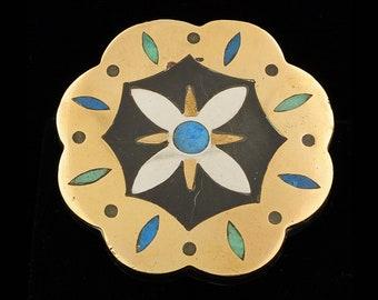 Vintage Los Castillo Taxco Onix Negro Modernist Mexican Silver Brooch Pin