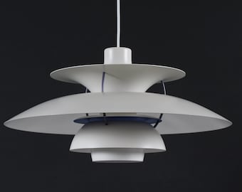 Poul Henningsen PH 5 Pendant Light Old Version with Off White Shades. Made by Louis Poulsen A/S in Denmark in the Mid-century Period