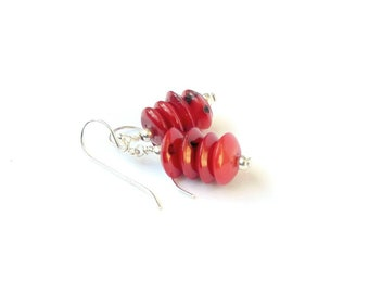Coral and Sterling Silver Earrings, Contemporary Natural Red Coral, Stack Earrings, Red Earrings, Orange Earrings, Handmade Jewellery