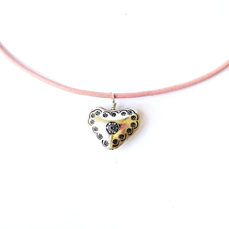 Hill Tribe Silver Heart Pendant Valentines Day Pink Leather image 0