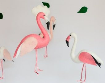 Flamingo baby mobile, modern nursery, cot mobile, crib mobile, hanging mobile, baby shower, nursery decor