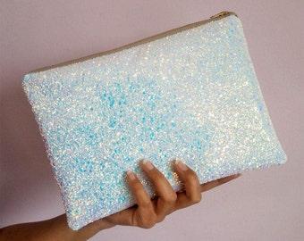 White Iridescent Glitter Clutch Bag, Wedding Clutch Bag, Iridescent Bridal Bag, White Clutch Bag, Sparkly Bridal Clutch Bag,