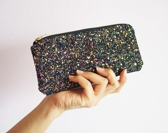 DAYANNIU Hard Sunglasses Cases,Dazzling Sparkle Smooth Glitter Case for Eyeglasses and Oversized Sunglasses