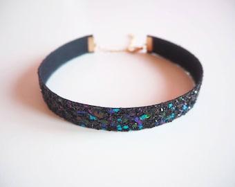 Black Rainbow Glitter Choker, Sparkly Black Choker, Glittery Choker Necklace, Black Glitter Choker, Rainbow Glitter Necklace,