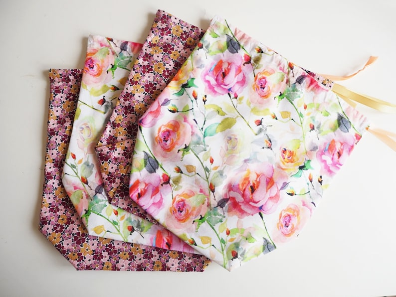 Drawstring Cotton Laundry Bag Floral Print Shoe Bag, Cotton Shoe Bag Drawstring Laundry Bag Overnight Bag