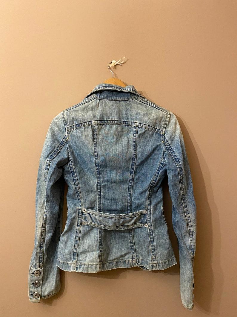 S size. Vintage wash denim blazer for women long sleeve jean jacket for women