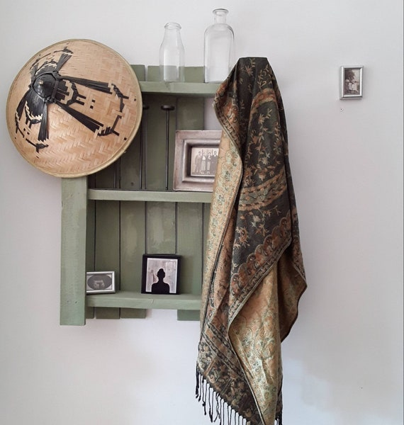 Vintage scarf, 90 silk and pashmina shawl, multico