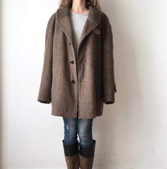 Vintage 100% wool coat for women, unisex wool coat