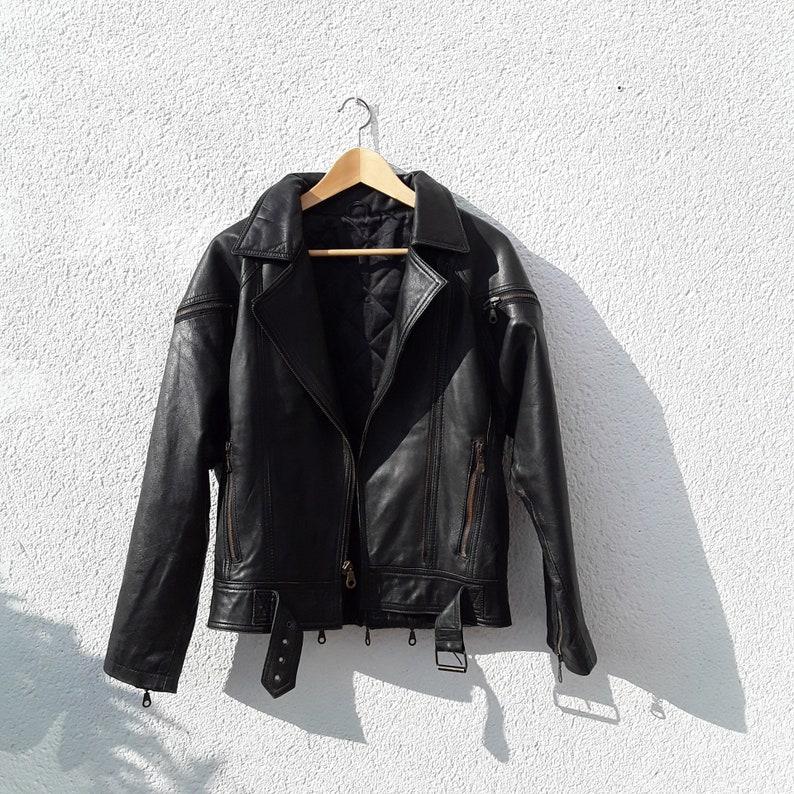 Vintage jaren 90 mannen zwart lederen jas lange leren jas   Etsy