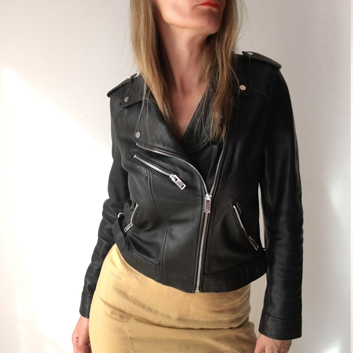 100% Real Leather Black Jacket For Women, M Size.