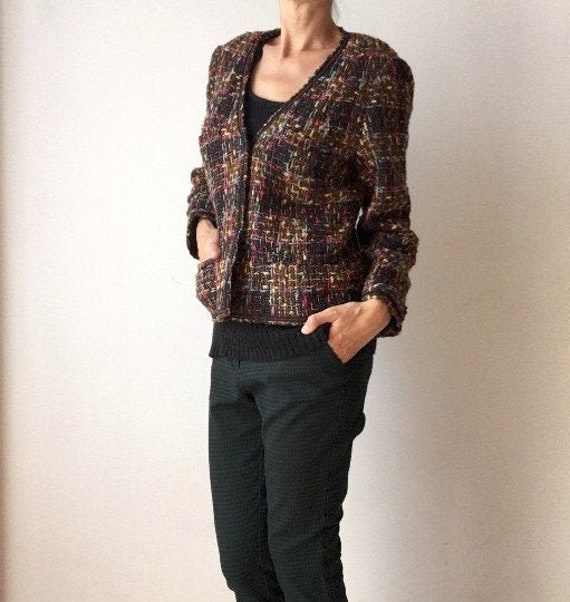 Vintage multicolored cropped blazer for women from