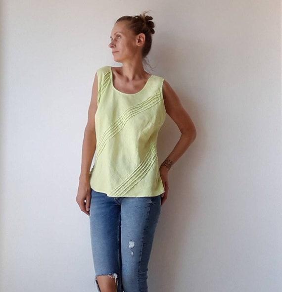 Vintage 100% linen top for women, pistachio green