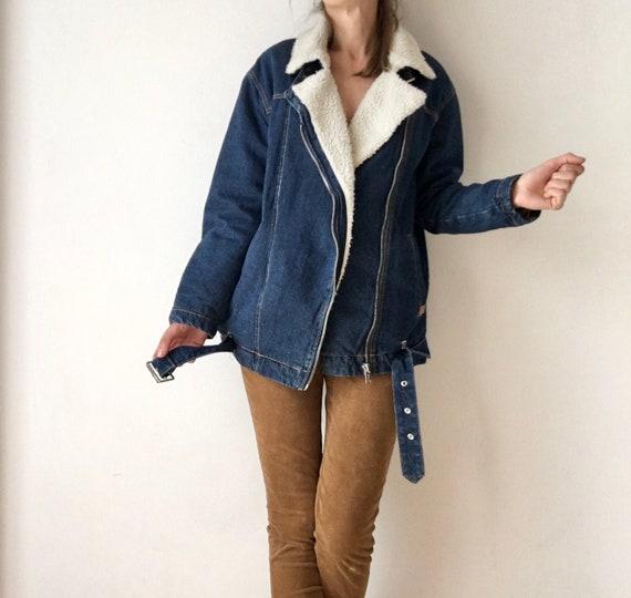 Sherpa denim jacket, vintage sherpa Winter jacket,