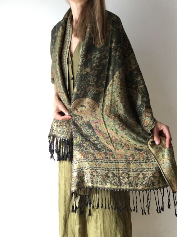 Vintage scarf for women, silk and pashmina shawl,