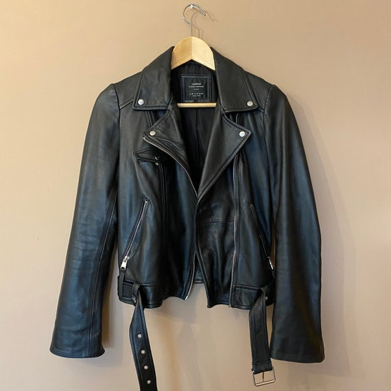 Women Vintage Leather Black Jacket. Ramones Classi