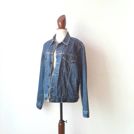Levi's trucker jacket, vintage blue denim jacket,