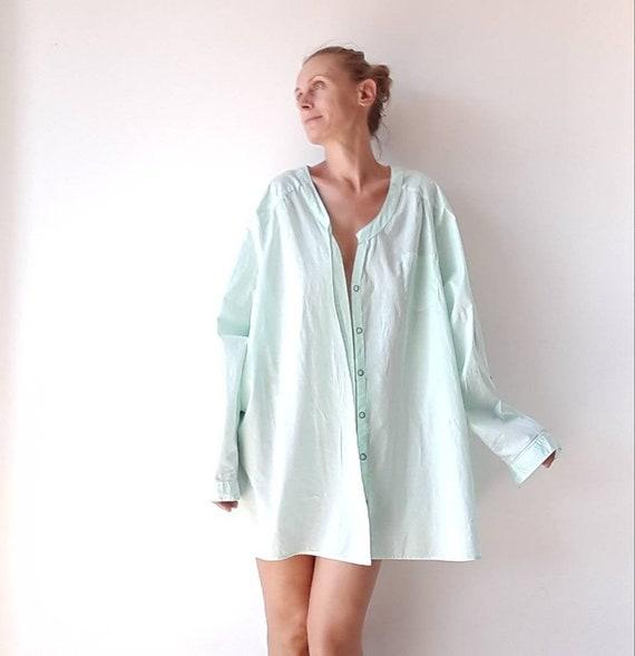 Vintage women's shirt, plus size green pistachio c