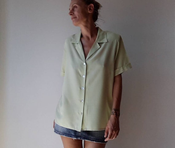 Vintage women's shirt, short sleeve 90's green shi