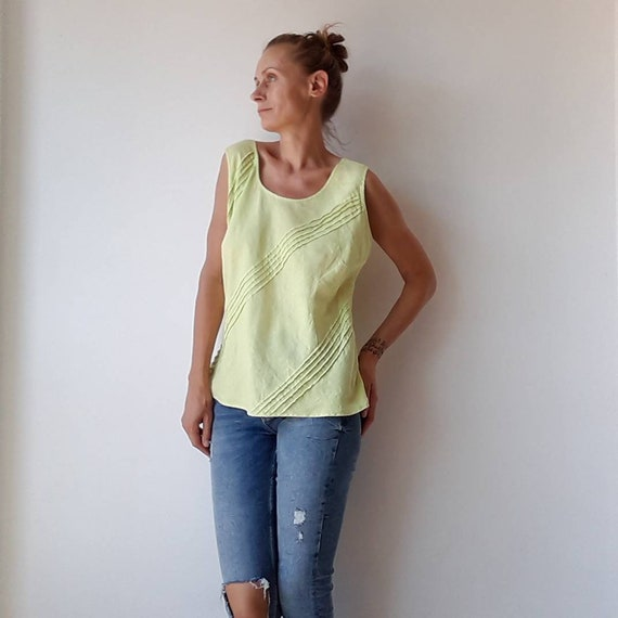 Women's blouse, Summer linen top, ladies sleeveles