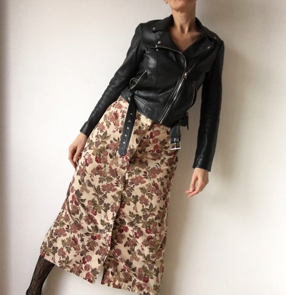 Vintage corduroy skirt, long floral print skirt, w