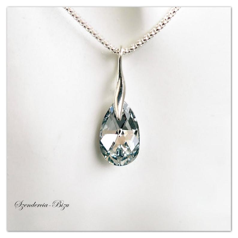 0ef438d57 Silver pendant Swarovski Pear-Shaped necklace Comet Argent | Etsy
