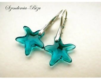 Silver earrings Swarovski Starfish Indicolite jewelry Turquoise earrings Crystal jewelry Bridal earrings Beach jewelry bridesmaids gift