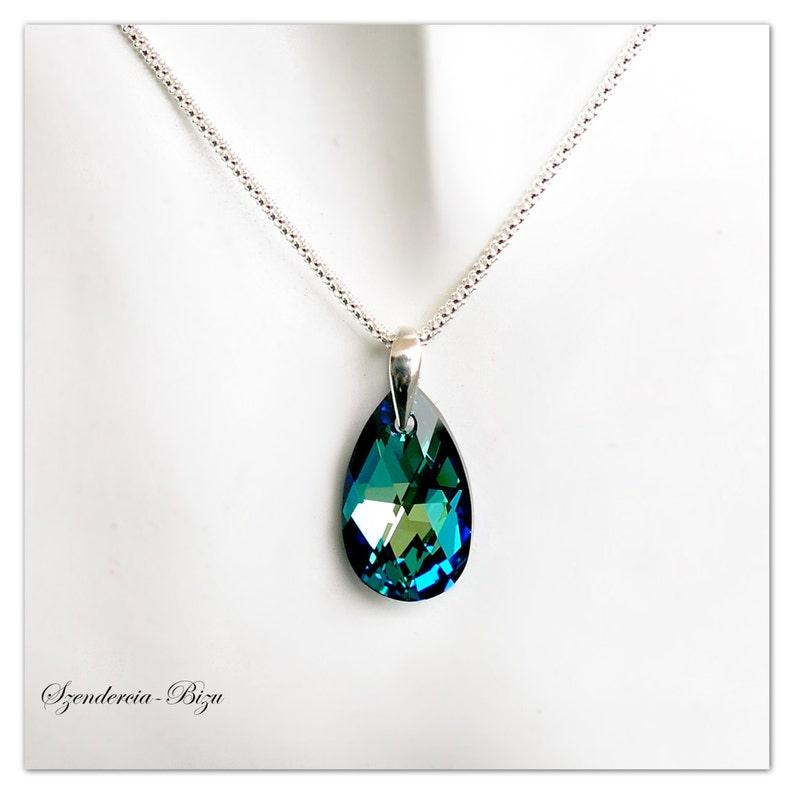 473d1eeee Silver pendant Swarovski Pear necklace Pear-shaped Bermuda | Etsy
