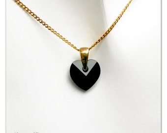 Gold plated pendant Swarovski Heart Jet necklace Black pendant Gold necklace crystal pendant Bridal necklace Bridesmaid gift for her