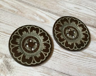 2x Massive Wooden Buttons, 60mm Buttons With 4 Holes, Craft Buttons, Sewing Buttons P171