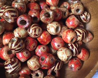 100x Wooden Craft Beads, Tribal Beads, Painted Wood Beads, Box