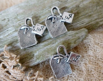 6x Tea Bag Charms, Antique Silver Pendants C433