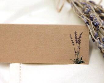 Lavender Wedding Place Cards (Brown Kraft) x 50