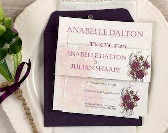Botanical PLUM Flower Wedding Invitation Full Set (25)