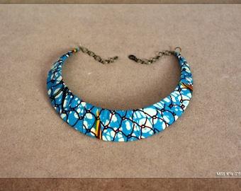 Necklace Plastron 2 rowsethnic Batik blue /& white fabrics