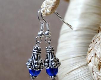 Ethnic earrings deep blue glass