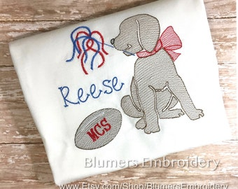 35ddbff70 Football Cheer Puppy Dog Monogrammed Sketch Embroidered T Shirt