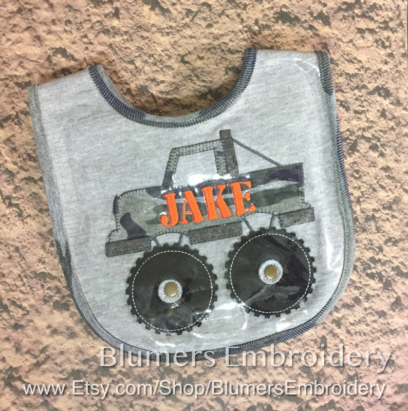 d133b187e Monogrammed Applique Monster Truck Bib Boys Baby Shower Gift | Etsy