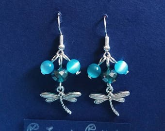 Dragonfly Pond. Crystal blue and green with dragonfly charm dangle earrings. Corinne's Curiosity