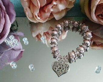 Twisted Heart Light Pink/Peach Beaded, Pearl and Crystal Charm Bracelet Corinne's Curiosity