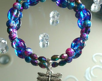 Dragonfly Pond Purple and Blue Beaded Charm Bracelet Corinne's Curiosity