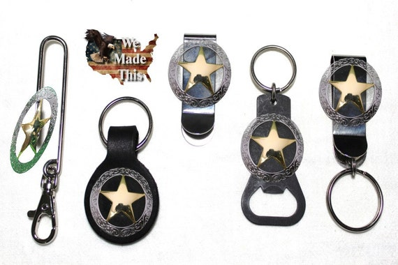 Brown Leather Key Chain with Ring Copper The State of Texas Seal Star Concho NEW