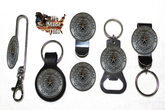 Texas Mason leather key fob or keychain