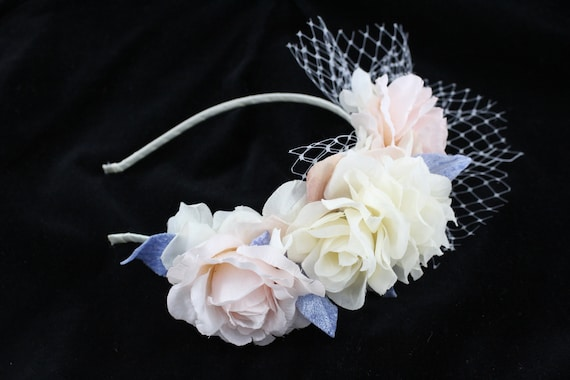 Floral Headband Fascinator Ivory Blush Pink and Powder Blue by Sinclair  Stuart Millinery with netting trim 3d5516cb095