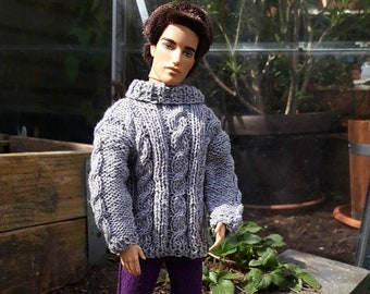 Handknitted lightgrey sweater with purple pants for male dolls like Ken