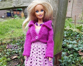 Clothes for 1 to 6 scale dolls like Barbie: pink cocktaildress, purple leggings, cardigan and necklace