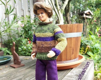 Handknitted sweater and purple pants for male doll like Ken