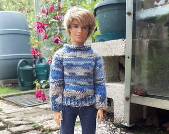 Handknitted sweater with blue denim pants for 12 inch male dolls like Ken